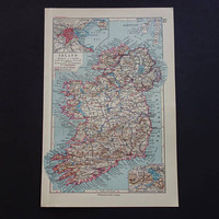 IRELAND old map of Ireland 1926 detailed vintage German print about Dublin Lough Leane Killarney - small antique maps 16x24c 6x9""