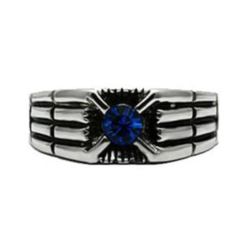 Spaceship Superstar - FINAL SALE  Modern Design Blue Crystal Stainless Steel Comfort Fit Ring