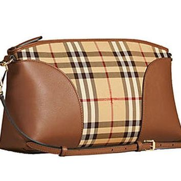 Burberry Women's Horseferry Check And Leather Clutch Bag Honey Tan