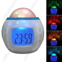 "Fashionable 2.0"" LCD Music and Starry Sky Alarm Clock w/ Calendar/Thermometer"