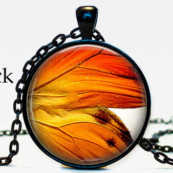 Orange butterfly wing necklace pendant,book,book self, gifts for book lover, butterfly, butterfly wing,resin, glass cabochon