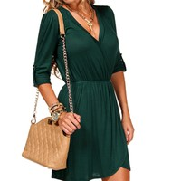 Fashion Green 34 Wrap Front Tunic