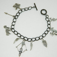 "8"" Daryl Dixon/The Walking Dead Silver Charm Bracelet Crossbow Squirrel Cherokee Rose Wings Motorcycle"