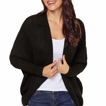 Black Luxe Cable Knit Open Front Cardigan