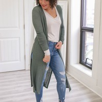 Hang With Me Cardigan - Leaf Green