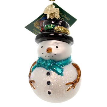 Old World Christmas HOLLY HAT SNOWMAN Glass Glass Ornament Winter 24159 Teal