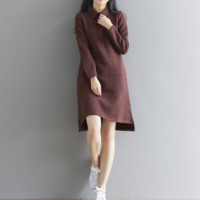 TEXT THICKENING LONG SLEEVES KNITTED DRESS SPRING AND WINTER CLOTHING