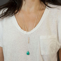 Water-drop Turquoise Double-Layer Necklace