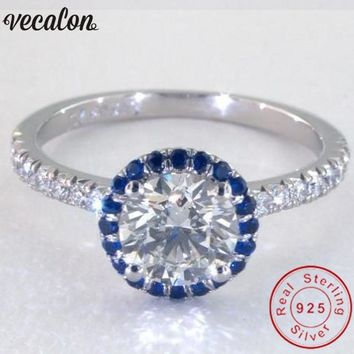 Vecalon Handmade 100% Soild 925 Sterling Silver ring Blue Birthstone 5A Zircon Cz Engagement wedding Band rings for women men