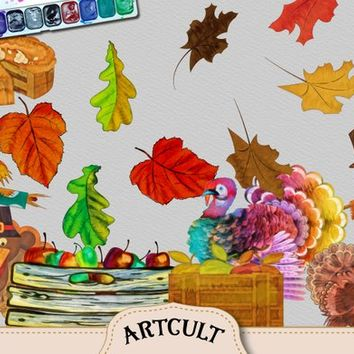 Thanksgiving Gouache Watercolor Clipart Wine, Grapes, Scarecrows, Fall Leaves, Keg, Turkeys, Hat, Basket, Pie, Background.