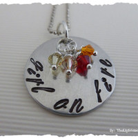 Hunger Games Inspired - Hand Stamped - Girl on Fire with swarovski crystals