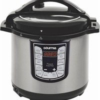 Gourmia - 6-Quart Pressure Cooker - Stainless Steel/Black