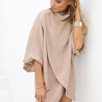 European Style Fashion Knitted Sweater Women Pullover Poncho Turtleneck 3 Color Ponchos And Capes