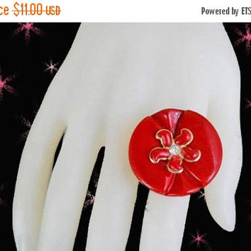 SALE Big Red Ring for Holidays - OOAK Retro Statement Ring - Made with Vintage