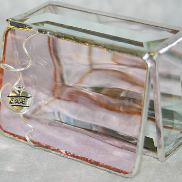 Stained Glass Jewelry Box Soft Pink 2x3 w/ by GaleazGlass on Etsy