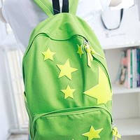 Yellow Star Spliced Canvas Backpack