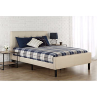 Full Size Taupe Upholstered Bed With Button Tufted Headboard & Footboard