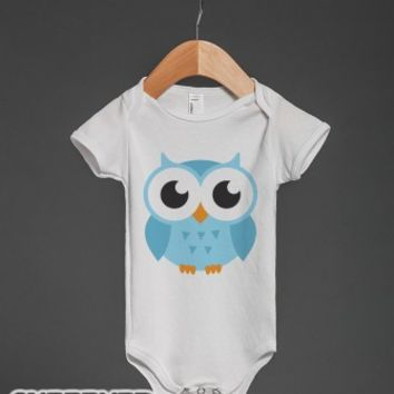 Cute blue baby owl cartoon creeper-Unisex White Baby Onesuit