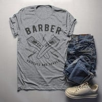 Men's Barber T-Shirt Haircuts & Shaves Vintage Tee Razor Clippers Shirt For Hipster Barbers