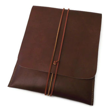 Leather iPad Mini Sleeve- Samsung Tab 2 Sleeve-Amazon Kindle Fire Sleeve-7 inch Tablet Case Sleeve- Genuine Italian Leather- Hand Stitched
