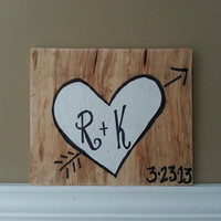 Heart With Initials Sign - WEDDING, ENGAGEMENT, INITIALS, photo prop