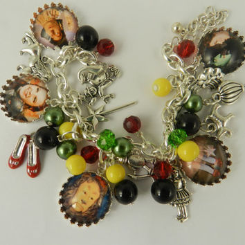 Wizard of Oz Charm Bracelet Glass Tile Jewelry Wizard of Oz Charm Pendants Toggle Famous Movie Bracelet