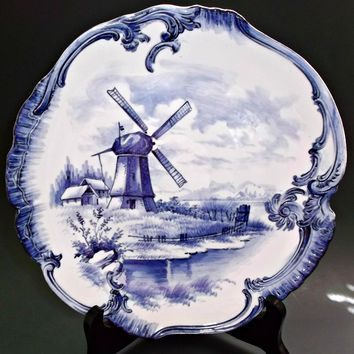 Antique Royal Bonn Germany Blue Delft Cabinet Plate Windmill