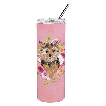 Norwich Terrier Pink Flowers Double Walled Stainless Steel 20 oz Skinny Tumbler CK4220TBL20