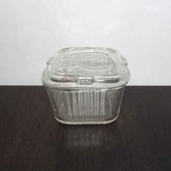 Vintage Small Federal Glass Clear Glass Refrigerator Dish/Box with Lid with Embossed Vegetables - Art Deco Style