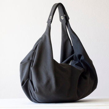 Shoulder bag , slouch bag , hobo bag  in dark grey cotton canvas - Kallia bag