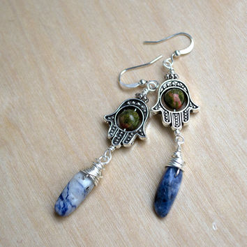 Sodalite Hamsa Hand Earrings, Unakite Earrings, Boho Jewelry, Fatima Hand, Bohemian Fashion, Hippie Earrings, Dangle Earrings, Wire Wrapped