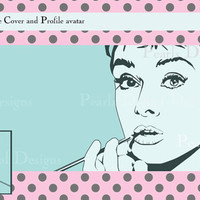 Facebook Timeline Cover and Profile avatar, Breakfast at Tiffany's, Instant download, Design Audrey Hepburn 8