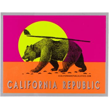 California Republic Summer Surf Bear Sticker Decal