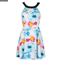 Women Blue Floral Print Strappy Back Cute A Line Skater Mini Backless Dress Sleeveless 2016 New Summer Sexy Short Clothing