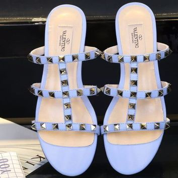 Valentino Women Slipper Rivet Sandals Cross Line Shoes Light Blue