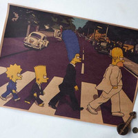The Simpsons Abbey Road Beatles style Bart Marge Homer Lisa poster Vintage look