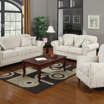 Coaster 502511-12 2 pc norah collection oatmeal linen blend fabric upholstered sofa and love seat set with nail head trim on the arms