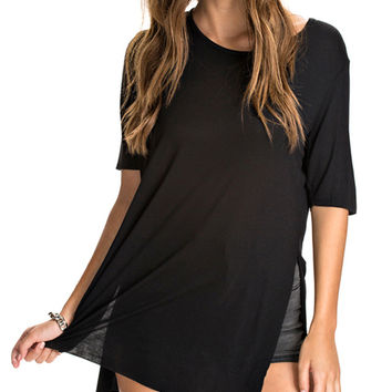Short Sleeve Slit Long T-shirt