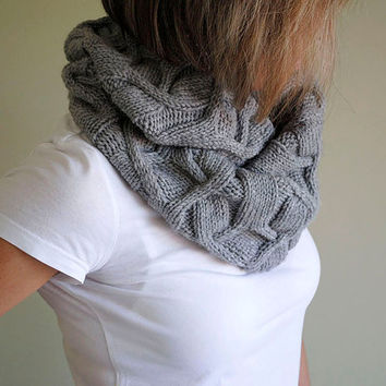 PDF KNITTING PATTERN Cowl Diamonds - Women cowl - Men cowl - Winter accessory - Grey