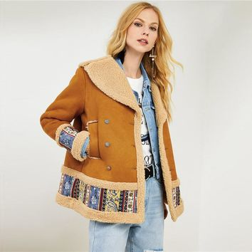 Ginger Tribal Print Single Breasted Women Winter Jacket