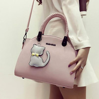 Women's  Leather Messenger Bags Crossbody Shoulder Handbag Vintage Retro Leather Bag with Cat Gift