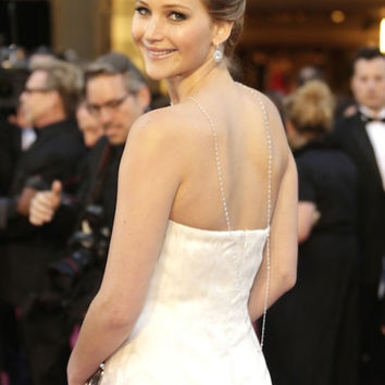 Jennifer Lawrence Back Necklace, Extra Long Silver Sequin Chain, Long Chain, JLaw Necklace