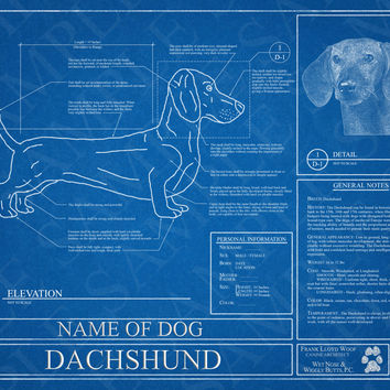 Customized Dachshund Blueprint / Dachshund Art / Dachshund Wall Art / Dachshund Poster / Dachshund Print