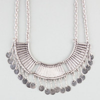 Full Tilt Metal Bar & Disc Statement Necklace Silver One Size For Women 23595314001
