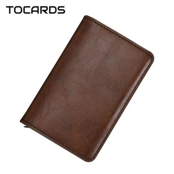Automatic Aluminium Vintage Business Leather Credit ID Card Holder Wallet for Men Alloy Cardholder  Cards Card WalletsKawaii Pokemon go  AT_89_9