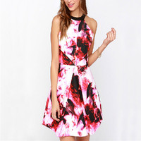 Summer Sweet Sleeveless Floral Print Backless Flare Casual Dress