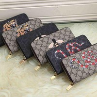 DCCK Gucci' Personality Bee Tiger Head Snake Pattern Print Zip Long Section Purse Handbag Wallet