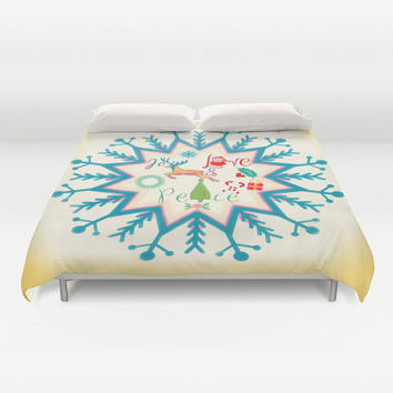 Duvet Cover, Christmas Duvet Cover, Christmas bedding, Snow Flakes, Xmas duvet cover, Bedding, Home Interior Decoration