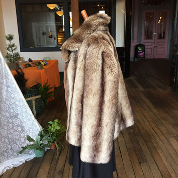 Vintage Brown Faux Fur Jacket Size L Alpine Studio and Beige