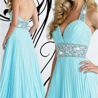 Blue Sheath Floor-length Halter Dress [3685125] - $125.00 : dressoutletstore.co.uk, Wedding Dresses Outlet